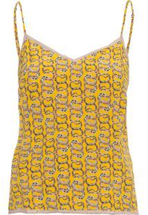 Blusa Feminina Alcinha Estampada - Amarelo