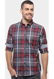 Camisa Xadrez Broken Rules Masculina - Masculino-Cinza+Vermelho