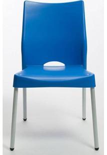 Cadeira Malba Base Fixa Pintada Cinza Cor Azul