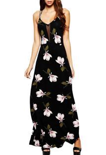 Vestido Longo Floral Decote Transparente