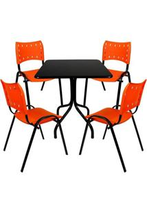 Jogo Mesa Fixa 70Por70 Tampo Preto 4 Cadeiras Laranja Plástico