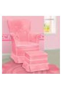 Poltrona Amamentação Sofia Com Balanço E Puff Rosa E Branca