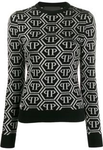 Philipp Plein Blusa Mangas Longas De Tricô Com Estampa De Logo - Preto