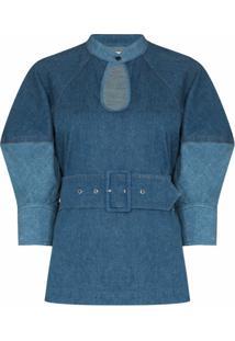 Chloé Blusa Jeans Com Decote Gota E Mangas Bufantes - Azul