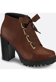 Bota Feminino Ankle Boot Tratorada Salto Alto Moleca