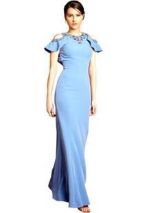 9daad571a1 ... Vestido Longo Izadora Lima Brand Em Alfaiataria Com Babados Feminino -  Feminino-Azul Claro