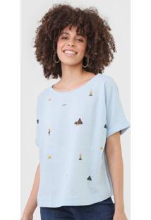 Camiseta Linho Cantão Bordada Azul
