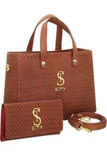 Kit Bolsa Selten Handbag Couro Textura Tresse + Carteira Feminina - Feminino-Marrom