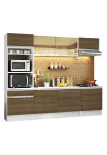 Cozinha Completa Madesa Diamante Com Armário, Balcão E Tampo Branco/Rustic