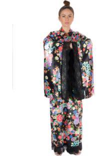 Kimono Thais Gusmão Longo Hellokitty Cerejeira Preto/ Color