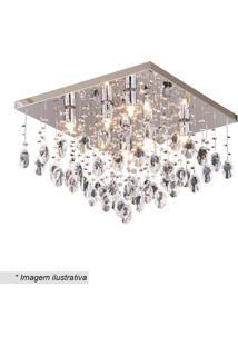 Plafon Quadrado Com Pingentes- Cristal & Inox- 29X40Hevvy