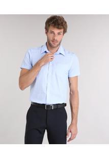 Camisa Masculina Comfort Listrada Manga Curta Com Bolso Azul