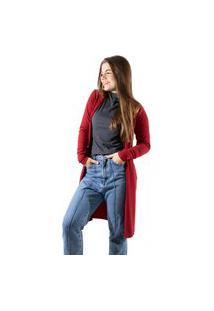 Cardigan Comprido Canelado Com Fenda 4 Estações Vermelho