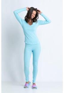 Conjunto De Pijama Acuo Longo Algodão Marola Feminino - Feminino-Azul
