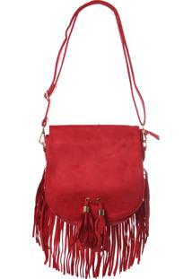 Bolsa Real Arte Camurça Com Franjas Vermelha.