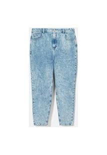 Calça Mom Jeans Lisa Com Tachas Curve E Plus Size Azul