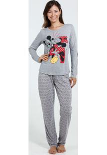 Pijama Feminino Manga Longa Estampa Mickey Minnie Disney