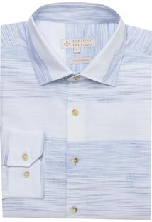 Camisa Ml Fio Tinto Slub Degrade (Azul Claro, 7)