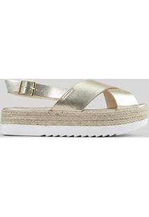 Sandália Flatform Metalizada Dourada