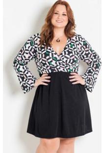 Vestido Transpassado Geométrico Preto Plus Size