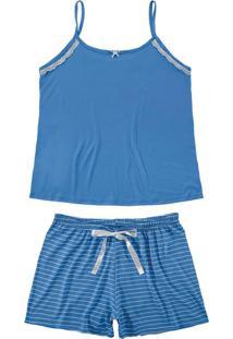 Pijama Azul Listrado Com Renda