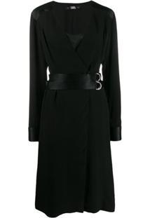 Karl Lagerfeld Vestido Envelope Com Prega - Preto