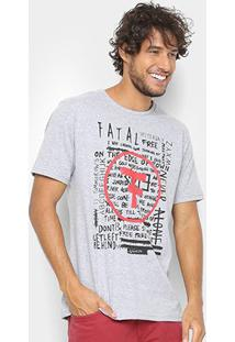 Camiseta Fatal Estampada Masculina - Masculino-Mescla