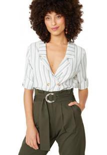 Blusa Amaro Botões Listrada Viscose Feminina - Feminino