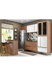 Cozinha Completa Multimóveis Com 5 Peças Calábria 5463 Nogueira/Branco