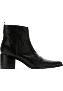 Blue Bird Shoes Bota Country Python Em Couro - Preto