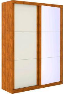 Guarda Roupa Solteiro 2 Portas Com Espelho Pratico - Robel - Nature / Off White