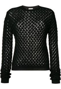 Saint Laurent Glittery Crochet Jumper - Preto