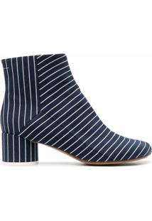 Mm6 Maison Margiela Ankle Boot Com Listras - Azul