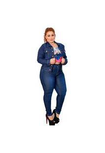 Jaqueta Jeans Feminina Escura Plus Size Azul
