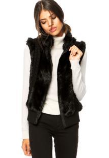 Colete Ellus Fur Knit Vest Preta