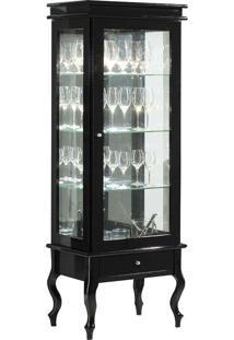 Cristaleira Imperatriz C/ 1 Porta (S/ Lamp.) - Bom Lar Preto Brilho