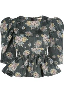 Brock Collection Blusa Peplum Com Estampa Floral - Verde