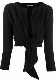 Dolce & Gabbana Cardigan Com Amarração Frontal - Preto