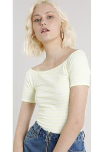 Blusa Feminina Básica Listrada Manga Curta Decote Ombro A Ombro Amarela