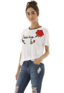 Camiseta Malha Friday Com Aplicação De Flores - Kanui