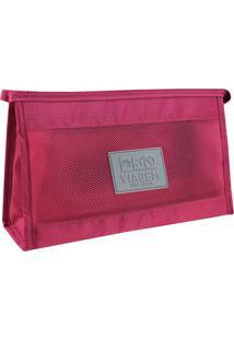 Nécessaire De Viagem- Vermelho Escuro Cinza- 26X16Jacki Design