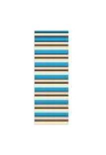 Tapete Saturs Moderno Listrado Azul 60 X 200 Cm Tapete Para Sala E Quarto