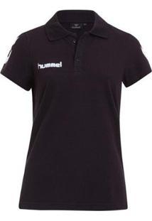 Camiseta Polo Hummel Core Cotton Feminina - Feminino-Preto