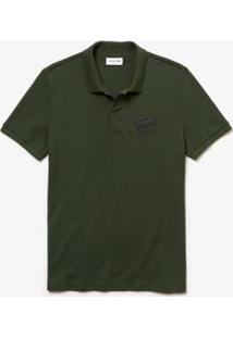 Camisa Polo Lacoste Slim Fit Crocodilo Em 3D Masculina - Masculino-Verde Militar