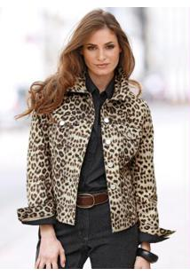 Jaqueta Jeans Animal Print Estampada Onça Marrom