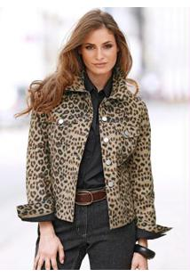 Jaqueta Jeans Marrom Leopardo/Preto
