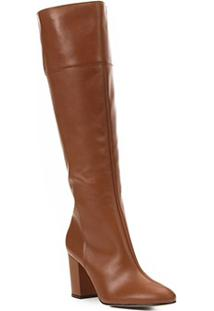 Bota To The Knee Shoestock Couro Feminina - Feminino-Caramelo