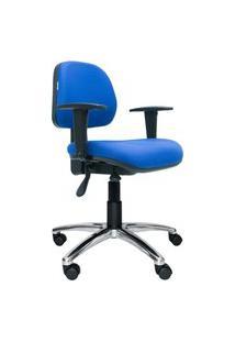 Cadeira Ergonômica Profission. Ajuste Lombar. Braços Ajustáveis. Estrutura Preta. Base Alumínio. Tecido Poliéster Azul. Prolabore Produtos Ergonômicos