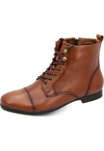 Bota Sapatofranca Sem Salto Com Cadarço Ankle Boot Whisky