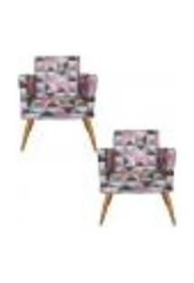 Conjunto 2 Poltronas Decorativas Com Rodapé Nina Triângulo Rosa - Bela Casa Shop